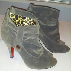 Botine dama - Botine / pantofi gri decupati / marimea 36