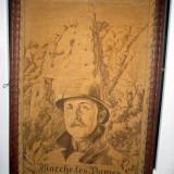 tesatura textila - Tapiserie militara tesuta veche cu soldat in uniforma si cascheta - Marche les dames- 17 Februarie 1934, made in Belgium, depose,