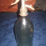 Sticle de sifon vechi de 1l, model frumos gat metalic cu cap de peste.