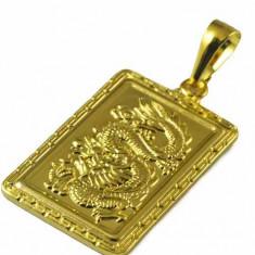 LIVRARE GRATUITA !!! - SUPERB PANDANTIV 9K GOLD FILLED CU DRAGON IN RELIEF, PUNGUTA ELEGANTA CADOU - Pandantiv placate cu aur
