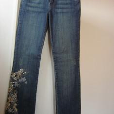Blugi dama Zara pantaloni ORSAY casual club bleumarin mas 36 S aplicatii paiete cusaturi flori, Marime: S, Culoare: Albastru, Lungi, Normal, Normala