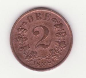 Moneda Norvegia - 2 Ore 1884 foto