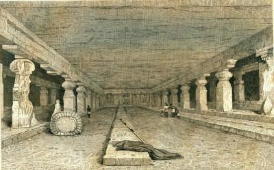 Pesterile din Ellora (India) - Tipogravura - Meyers Universum 1833-1861 foto