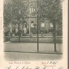 CPI (B2543) GERMANIA, LOGE ALMA a. d. OSTSEE, KIEL, CIRCULATA 1904, STAMPILE, Europa, Printata