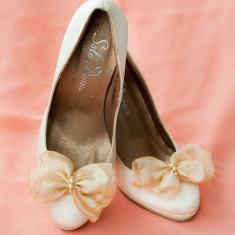 Pantofi dama - Pantofi mireasa / ivory - nude / marimea 35 / funda voal.