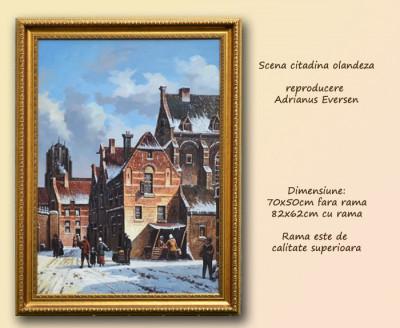 Tablou Scena citadina olandeza (1)  cu rama - Reproducere Adrianus Eversen (70x50cm) - LIVRARE GRATUITA 24-48h - PRET NEGOCIABIL foto