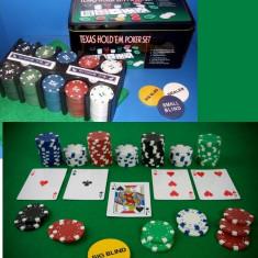 Set poker, Numar jetoane: 200 - POKER SET TEXAS HOLD'EM+SUPORT+2 SETURI CARTI+HUSA MASA DE JOC