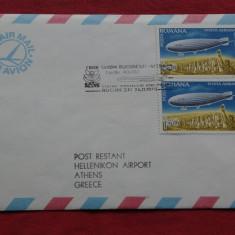 Plic - aerofilatelie - zbor Tarom Bucuresti - Atena -1979 !!! - cartare speciala de corespondenta