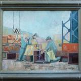 Tablou - Muncitori pe santier - semnat G.Cardas