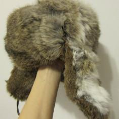 Fes Dama - Caciula blana iepure, unisex, naturala, marimea S/M, stare buna - MODEL RUSESC CU URECHI!!!