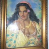 Tablou, Portrete, Art Deco - Portret cu creta de ulei - Tiganca cu sanul gol
