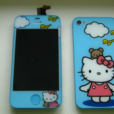 TouchScreen Digitizer LCD Display Rama Geam + Capac Carcasa Spate + Buton Apple iPhone 4S Hello Kitty TRANSPORT GRATUIT - Display LCD