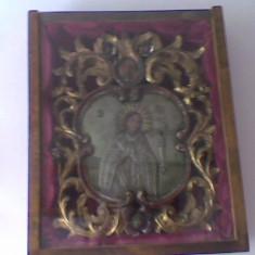 Icoana veche suflata cu aur: Maica Domnului Tanguitoarea - Icoana cu foita de aur