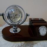 Ceas unisex - Ideal Cadou - ceas birou si termometru, suport pixuri, lemn de cires, quartz