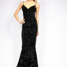 Rochie splendida cu spatele gol si trena din un material de exceptie - Rochie de seara, Marime: Masura unica, Culoare: Negru