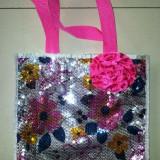 Gentuta Copii - Gentuta fete cu paiete si floare roz, 27x25 cm