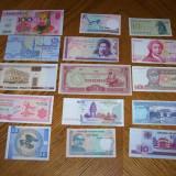 Bancnota Straine - Lot de 15 bancnote straine necirculate
