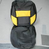 huse auto din imitatie de piele galben cu negru