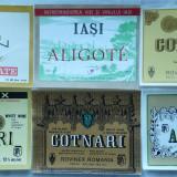 7 etichete comuniste diferite + banderole, nefolosite, pentru sortimente de vin : Cotnari, vin pelin, Aligote Iasi, 4