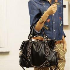 Geanta de dama din piele ecologica fashion - Geanta Dama, Culoare: Negru, Marime: Mare