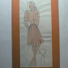 11 - MODA FEMININA VINTAGE ANII 1930 - 40. CROCHIU PE SUPORT DE CARTON CU PASSEPARTOUT - LITOGRAFIE - DIMENSIUNI 32 X 17 CM