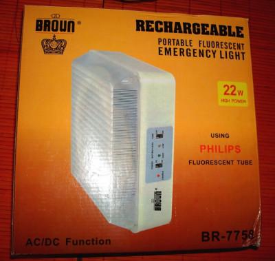 Lampa portabila cu acumulatori reincarcabili pentru drumetii, cabana, cort, cu tub fluorescent, utila si ca lampa de urgenta, se vinde la pret final foto