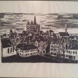 Tablou gravura veche semnata datata 1903