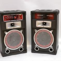 SISTEM 2 BOXE ACTIVE/AMPLIFICATE, MIXER INCLUS, 250 WATT P.M.P.O, ORGA LUMINI, MP3 PLAYER+2 MICROFOANE BONUS. - Echipament karaoke