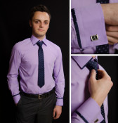 Set camasa+cravata+butoni LBK Slim-Fit foto