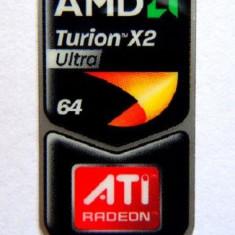 Sticker insigna emblema autocolant eticheta Amd Turion x2 ultra 64 + ATI radeon graphics pt laptop / PC calculator personal original okazie unica - Sticker laptop