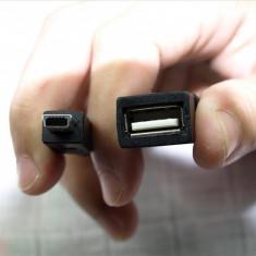 CABLU OTG ON THE GO Permite conectarea dispozitivelor cu conector USB ADAPTOR MiniUSB-USB mouse tastatura stick ETC MUFA MAMA USB MUFA TATA :miniUSB