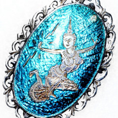 SUPERBA VECHE BROSA EMAILATA STERLING - Brosa argint