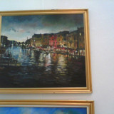 """Pictura in ulei pe PFL """"Amurg de Venetia"""" - Pictor roman, Portrete, Realism"""