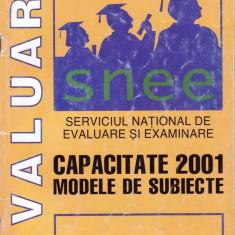 CAPACITATE 2001 - MODELE DE SUBIECTE ED. PROGNOSIS - Carte Teste Nationale
