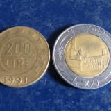 Lot 2 monezi 200, 500 lire Italia, Europa