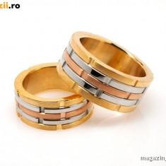 Set Verighete suflate cu aur de 18k Dama/Barbat COD: 020 - Verigheta