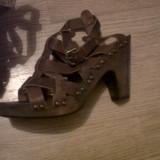 Sandale dama - Sandale 38, piele maro si platforma lemn de 10 cm
