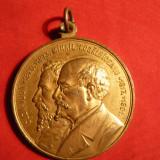 Medalii Romania - Medalie -Statui Al.I.Cuza si M.Kogalniceanu -Iasi, cu toarta