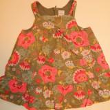 Rochie rochita deosebita pentru fetite, marimea 6 luni, pentru 68 cm, 100% bumbac, made in France, Culoare: Multicolor, Multicolor