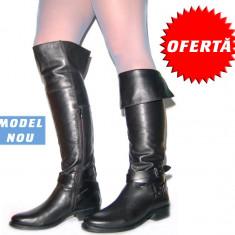 Pret cu Reducere: Cizme peste genunchi pentru femei din piele 100% - Cizme dama, Marime: 39, 41, Culoare: Maro