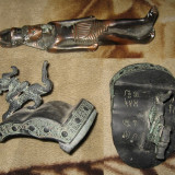 Arheologie - Ornament 2 Ornamente Pereche Dragon din Metal cu Hieroglife Chinezesti + BONUS
