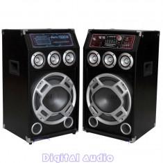 SISTEM 2 BOXE ACTIVE/AMPLIFICATE CU MIXER, ORGA LUMINI, MP3 PLAYER, BASS 10 INCH, 280 WATT+ 2 MICROFOANE BONUS!