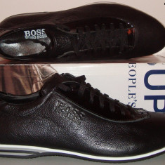 Pantofi Casual HUGO BOSS 100% Piele Naturala Model NOU - Negru / Bleumarin !!! - Pantofi barbati Hugo Boss, Marime: 43, 45