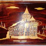 Tablou executat manual, PAI pe suport de lemn, inramat, reprezinta Manastirea VORONET, executat in manastire, neexpus, foarte migalos, cu detalii, etich