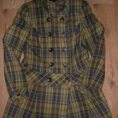 SUPER PRET ! Superb palton carouri lana dama NEXT colectia noua nou Sz L ! - Palton dama Next, Marime: L, Culoare: Multicolor