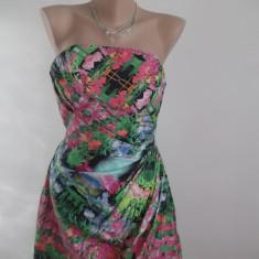 Rochie Zara cu flori superba+colier cadou! - Rochie de zi Zara, Marime: XS, Culoare: Multicolor, Fara maneca, Bumbac