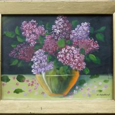 Tablou, Natura statica, Ulei, Altul - M. Adalbert - Bol cu liliac