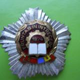 ROMANIA FRUNTAS IN INTRECERE 1976 PE SUPORT STEA ARGINTIE [1 ] - Insigna