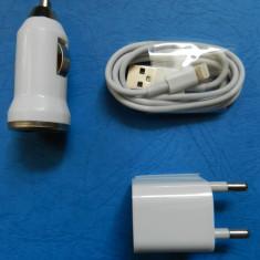 Kit Cablu de date compatibil iPhone 5 + Incarcator priza USB 5V 1A + Incarcator de masina bricheta 5V 1A - NOU - Incarcator telefon iPhone, De priza si masina