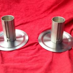 Metal/Fonta, Altul - 2 buc. - Mini pahare zinc cu farfurioare - Marcate !!!